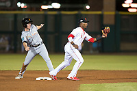 Scottsdale Scorpions second baseman Shed Long (6), of the Cincinnati Reds organization, and Brian Miller (10), of the Miami Marlins organization, look for the umpire's decision after a stolen base attempt during an Arizona Fall League game against the Salt River Rafters at Scottsdale Stadium on October 12, 2018 in Scottsdale, Arizona. Scottsdale defeated Salt River 6-2. (Zachary Lucy/Four Seam Images)
