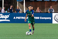 HARTFORD, CT - JULY 10: Younes Boudadi #3 of Hartford Athletic brings the ball forward during a game between New York Red Bulls II and Hartford Athletics at Dillon Stadium on July 10, 2021 in Hartford, Connecticut.