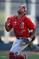 Los Angeles Angels catcher Cam Moye (16) looks for a foul ball pop up during an Instructional League game against the Milwaukee Brewers on October 11, 2013 at Tempe Diablo Stadium Complex in Tempe, Arizona.  (Mike Janes/Four Seam Images)