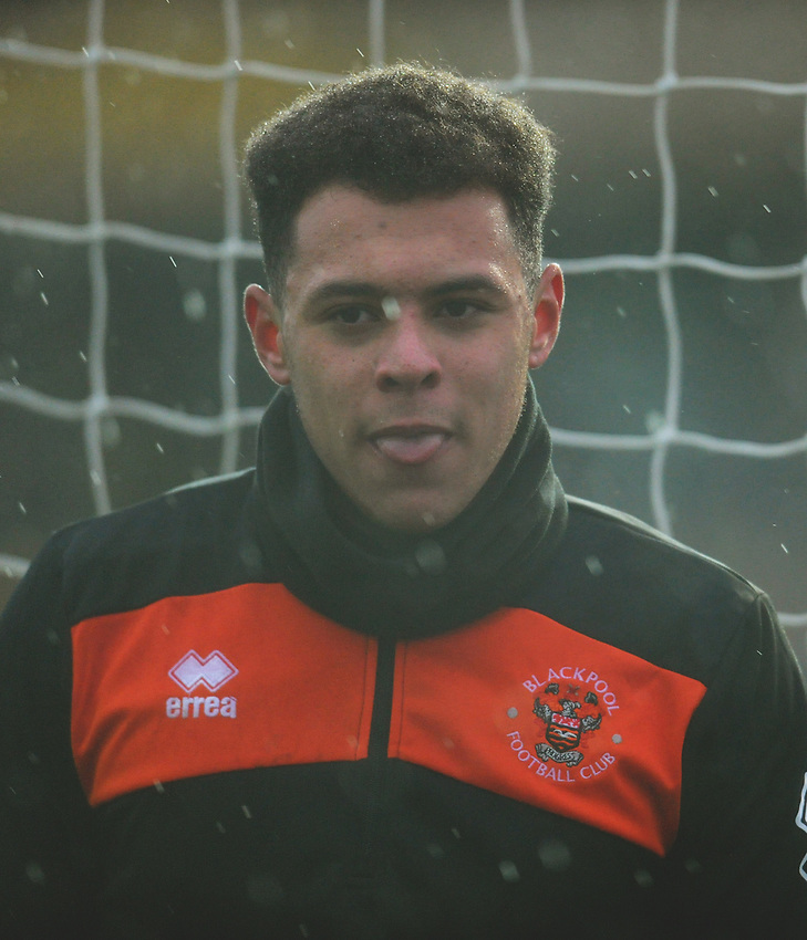 Blackpool's Myles Boney during the pre-match warm-up <br /> <br /> Photographer Kevin Barnes/CameraSport<br /> <br /> The EFL Sky Bet League One - Oxford United v Blackpool - Saturday 15th December 2018 - Kassam Stadium - Oxford<br /> <br /> World Copyright © 2018 CameraSport. All rights reserved. 43 Linden Ave. Countesthorpe. Leicester. England. LE8 5PG - Tel: +44 (0) 116 277 4147 - admin@camerasport.com - www.camerasport.com