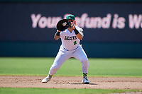 Augusta GreenJackets first baseman Frankie Tostado (8) fields a ground ball during a South Atlantic League game against the Lexington Legends on April 30, 2019 at SRP Park in Augusta, Georgia.  Augusta defeated Lexington 5-1.  (Mike Janes/Four Seam Images)