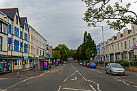 Walter Road, one of the main roads in the centre of Swansea is empty at 7pm, the time the FIFA World Cup semi-final between England and Croatia kicked off in Russia. Wedensday 11 July 2018