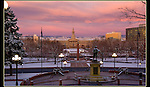 Winter sunrise, view from capitol building to Civic Park, Denver, Colorado.