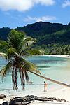 Seychelles, Island Mahe, Anse Forbans: woman, beach