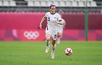 KASHIMA, JAPAN - JULY 27: Megan Rapinoe #15 of the United States moves towards the box during a game between Australia and USWNT at Ibaraki Kashima Stadium on July 27, 2021 in Kashima, Japan.