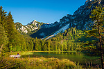 Deutschland, Bayern, Inzell-Adlgass: Frillensee vor dem Chiemgauer Alpen | Germany, Bavaria, Inzell-Adlgass: lake Frillensee with Chiemgau Alps