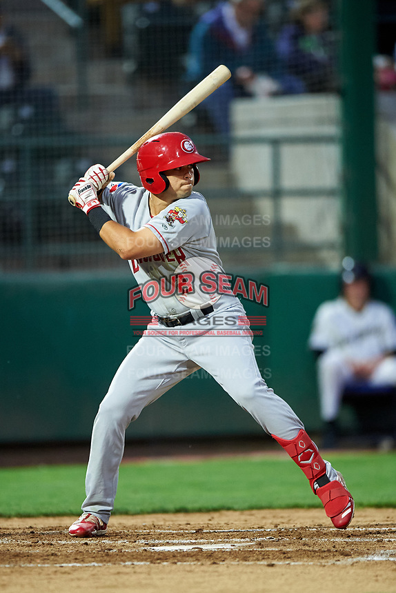 Vancouver Canadians Dominic Abbadessa (2) at bat during a Northwest League game against the Tri-City Dust Devils at Gesa Stadium on August 21, 2019 in Pasco, Washington. Vancouver defeated Tri-City 1-0. (Zachary Lucy/Four Seam Images)