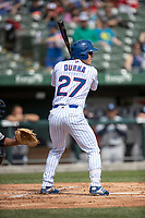 South Bend Cubs designated hitter Tyler Durna (27) at bat against the Lake County Captains on May 30, 2019 at Four Winds Field in South Bend, Indiana. The Captains defeated the Cubs 5-1.  (Andrew Woolley/Four Seam Images)