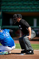 Home plate umpire Phil Bando behind the plate as the Idaho Falls Chukars faced the Ogden Raptors in Pioneer League action at Lindquist Field on July 2, 2017 in Ogden, Utah. Ogden defeated Idaho Falls 6-5. (Stephen Smith/Four Seam Images)