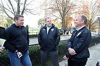 TUKWILA, WA - NOVEMBER 08: Tony Meola of SiriusXM and Garth Lagerwey and Chris Henderson of the Seattle Sounders FC talk outside of training at Starfire Sports Complex on November 08, 2019 in Tukwila, Washington.