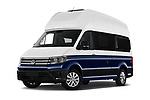 Stock pictures of low aggressive front three quarter view of 2020 Volkswagen Grand-California 600 4 Door Refrigerated Van Low Aggressive