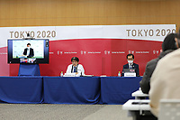 17th February 2021, Tokyo, Japan;  Photo taken on Feb. 17, 2021 shows the International Olympic Committee IOC, the International Paralympic Committee IPC and the Tokyo Organising Committee of the Olympic & Paralympic Games Tokyo 2020 joint press briefing in Tokyo, Japan. Tokyo 2020, IOC and IPC hosted a joint working meeting via teleconference focusing on COVID-19 countermeasures 15-17, Feb.
