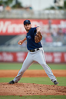 Mobile BayBears pitcher Ryan Clark (46) during a Southern League game against the Mobile BayBears on July 25, 2019 at Blue Wahoos Stadium in Pensacola, Florida.  Pensacola defeated Mobile 2-1 in the first game of a doubleheader.  (Mike Janes/Four Seam Images)