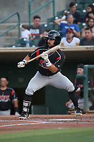 Matthew Acosta (6) of the Lake Elsinore Storm bats against the Inland Empire 66ers at San Manuel Stadium on June 15, 2021 in San Bernardino, California. (Larry Goren/Four Seam Images)