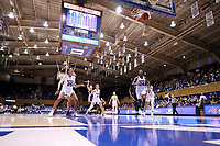 DURHAM, NC - NOVEMBER 17: Lindsey Pulliam #10 of Northwestern University makes a free throw during a game between Northwestern University and Duke University at Cameron Indoor Stadium on November 17, 2019 in Durham, North Carolina.