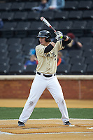 Bobby Seymour (3) of the Wake Forest Demon Deacons at bat against the Notre Dame Fighting Irish at David F. Couch Ballpark on March 10, 2019 in  Winston-Salem, North Carolina. The Demon Deacons defeated the Fighting Irish 7-4 in game one of a double-header.  (Brian Westerholt/Four Seam Images)