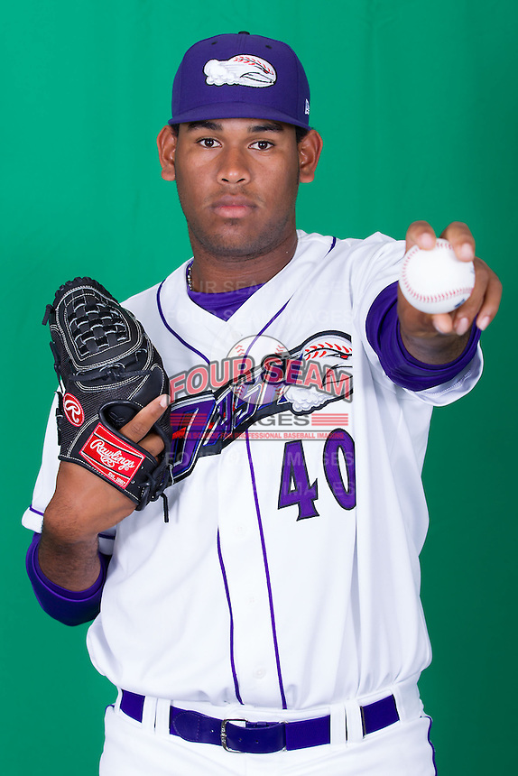 Winston-Salem Dash pitcher Jefferson Olacio (40) poses for photos during Media Day at BB&T Ballpark on April 1, 2014 in Winston-Salem, North Carolina (Brian Westerholt/Four Seam Images)