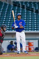 AZL Cubs right fielder Jeffrey Baez (28) at bat against the AZL Diamondbacks on August 11, 2017 at Sloan Park in Mesa, Arizona. AZL Cubs defeated the AZL Diamondbacks 7-3. (Zachary Lucy/Four Seam Images)