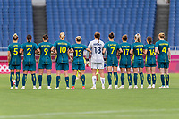 TOKYO, JAPAN - JULY 24: Australia stands on the field during a game between Australia and Sweden at Saitama Stadium on July 24, 2021 in Tokyo, Japan.