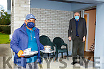 Razib Ahmed delivers James Foley Beaufort  his dinner from the Beaufort Meals on Wheels on Friday