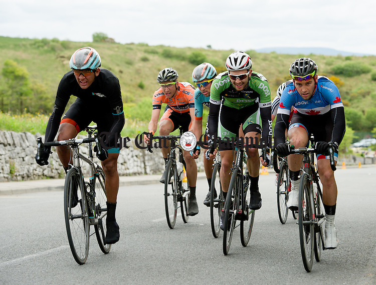 Competitors feel the strain as they climb the hill into Lisdoonvarna, on Stage 2 of the 2014 An Post Rás from Roscommon to Lisdoonvarna. Photograph by John Kelly.