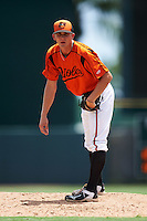 GCL Orioles relief pitcher Joe Johnson (46) during a game against the GCL Red Sox on August 16, 2016 at the Ed Smith Stadium in Sarasota, Florida.  GCL Red Sox defeated GCL Orioles 2-0.  (Mike Janes/Four Seam Images)