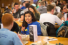 Jan. 18, 2016; Students enjoy a pancake breakfast at South Dining hall following a midnight prayer service at the in honor of the Rev. Martin Luther King Jr. holiday.  The service was the inaugural event of a campus-wide Walk the Walk Week observance, during which students, faculty and staff have been asked to reflect on the values central to Martin Luther King Jr.'s legacy and the mission of Notre Dame. (Photo by Matt Cashore/University of Notre Dame)