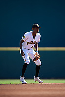 Bradenton Marauders shortstop Oneil Cruz (13) during a Florida State League game against the Charlotte Stone Crabs on April 10, 2019 at LECOM Park in Bradenton, Florida.  Bradenton defeated Charlotte 2-1.  (Mike Janes/Four Seam Images)