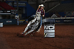 Emily Miller during the second round of barrel qualifiers at the WCRA Stampede at the E. Photo by Andy Watson