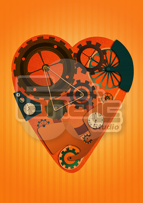 Heart shaped machine over colored background representing mechanism