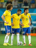 David Luiz of Brazil with Dani Alves and Neymar