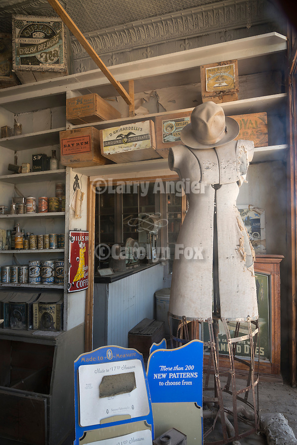 Building interior at the historic gold mining ghost town of Bodie, California, a California State Park..Old store interior