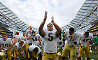 Sept. 1, 2012; Notre Dame linebacker Manti Te'o celebrates after Notre Dame defeated the Navy Midshipmen 50 to 10, in the 2012 Emerald Isle Classic at Aviva Stadium in Dublin, Ireland. Photo by Barbara Johnston/University of Notre Dame