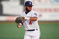 Brooklyn Cyclones third baseman Jose Peroza (4) throws to first base during a NY-Penn League game against the Tri-City ValleyCats on August 17, 2019 at MCU Park in Brooklyn, New York.  Brooklyn defeated Tri-City 2-1.  (Mike Janes/Four Seam Images)