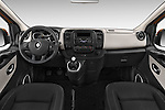 Stock photo of straight dashboard view of a 2015 Renault Trafic Luxe 5 Door Van