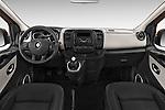 Stock photo of straight dashboard view of a 2015 Renault Trafic Luxe 5 Door Van