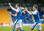 St Johnstone v Partick Thistle…28.04.18…  McDiarmid Park    SPFL<br />Joe Shaugnessy celebrates his goal<br />Picture by Graeme Hart. <br />Copyright Perthshire Picture Agency<br />Tel: 01738 623350  Mobile: 07990 594431