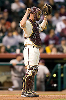 Arizona State catcher Petey Paramore (13) gives signs to his infield in game action versus Texas A&M at the 2007 Houston College Classic at Minute Maid Park in Houston, TX, Friday, February 9, 2007.  Arizona State defeated Texas A&M 5-4.