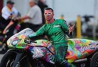 Sept. 3, 2011; Claremont, IN, USA: NHRA pro stock motorcycle rider Shawn Gann during qualifying for the US Nationals at Lucas Oil Raceway. Mandatory Credit: Mark J. Rebilas-