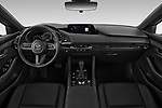 Stock photo of straight dashboard view of a 2019 Mazda Mazda-3 Style 5 Door Hatchback