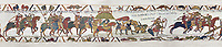 Bayeux Tapestry  Scene 16 and 17  - Williams asks Harold to joint him in war against Conan Duke of Britany on the way Soldiers get caught in Quicksand near Mont St Michele.