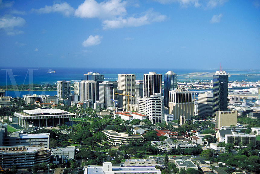 Downtown Honolulu, aerial, skyline, cityscape, urban design. Honolulu Hawaii.