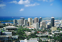 Downtown Honolulu, aerial, skyline, cityscape, urban design. Honolulu Hawaii.