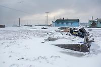 Native Arctic Inupiat village of Kaktovik, Alaska.