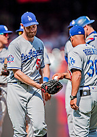20 May 2018: Los Angeles Dodgers pitcher Tony Cingrani is relived on the mound against the Washington Nationals at Nationals Park in Washington, DC. The Dodgers defeated the Nationals 7-2, sweeping their 3-game series. Mandatory Credit: Ed Wolfstein Photo *** RAW (NEF) Image File Available ***