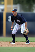 New York Yankees shortstop Vincente Conde (29) during an Instructional League game against the Toronto Blue Jays on September 24, 2014 at George M. Steinbrenner Field in Tampa, Florida.  (Mike Janes/Four Seam Images)