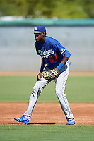 Los Angeles Dodgers Oneil Cruz (97) during an Instructional League game against the Cleveland Indians on October 10, 2016 at the Camelback Ranch Complex in Glendale, Arizona.  (Mike Janes/Four Seam Images)