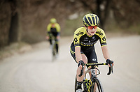 Grace Brown (AUS/Mitchelton-Scott) during race reconnaissance 1 day prior to the 13th Strade Bianche 2019 (1.UWT)<br /> One day race from Siena to Siena (184km)<br /> <br /> ©kramon