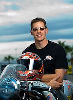 Oct. 31, 2008; Las Vegas, NV, USA: NHRA pro stock motorcycle rider Andrew Hines during qualifying for the Las Vegas Nationals at The Strip in Las Vegas. Mandatory Credit: Mark J. Rebilas-