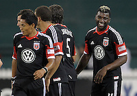 WASHINGTON, DC. - AUGUST 22, 2012:  Brandon McDonald (4) of DC United is happy after scoring against the Chicago Fire during an MLS match at RFK Stadium, in Washington DC,  on August 22. United won 4-2.
